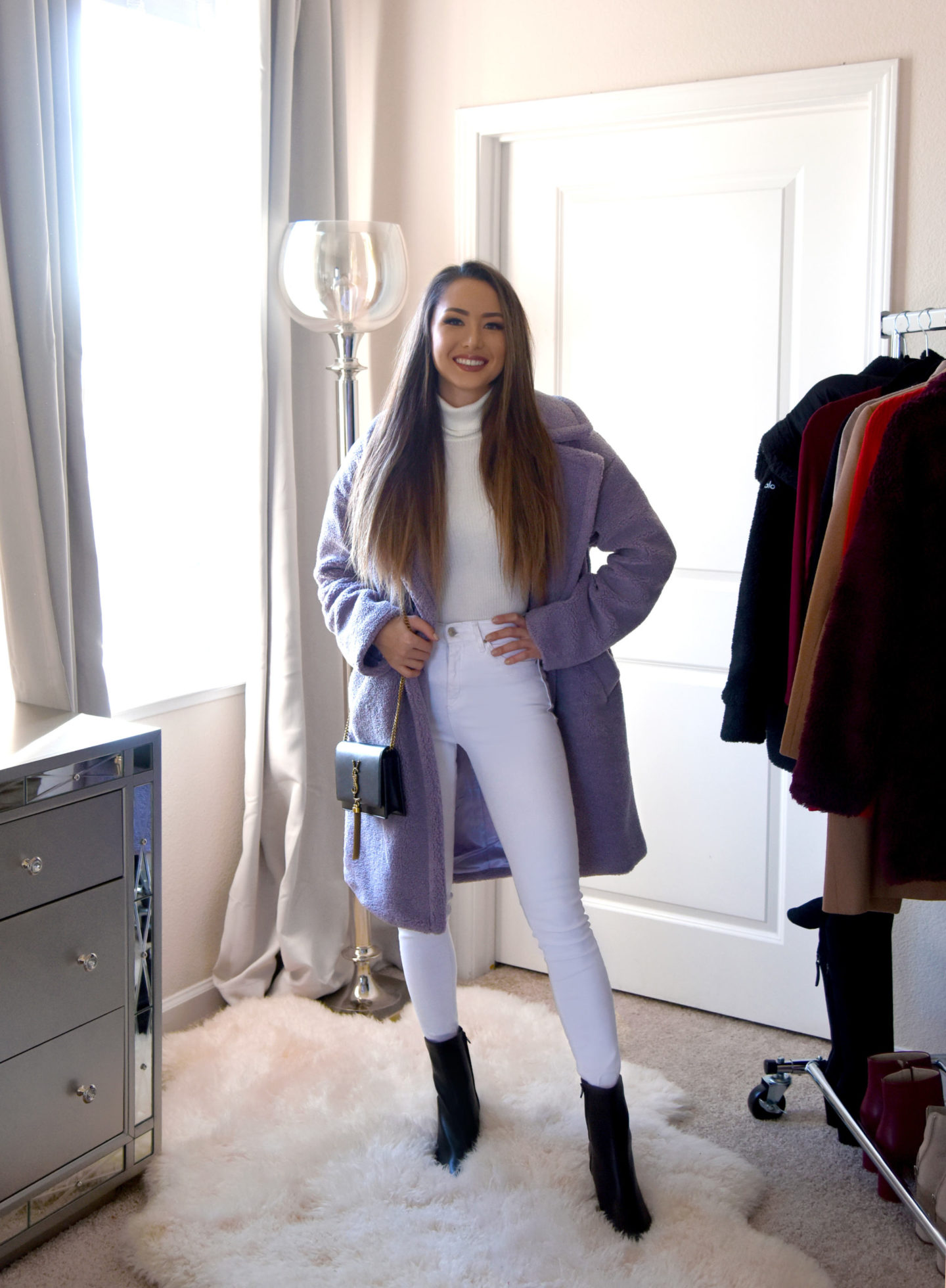 4 ways to style white jeans in winter teddy coat chic outfit