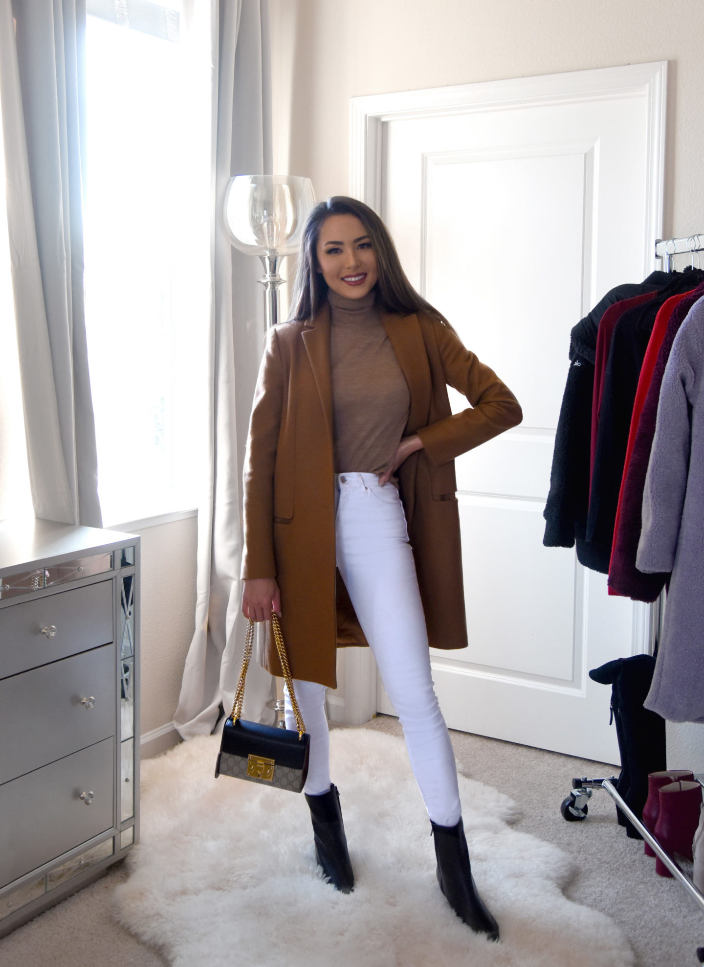 4 ways to style white jeans in winter camel coat neutral chic outfit