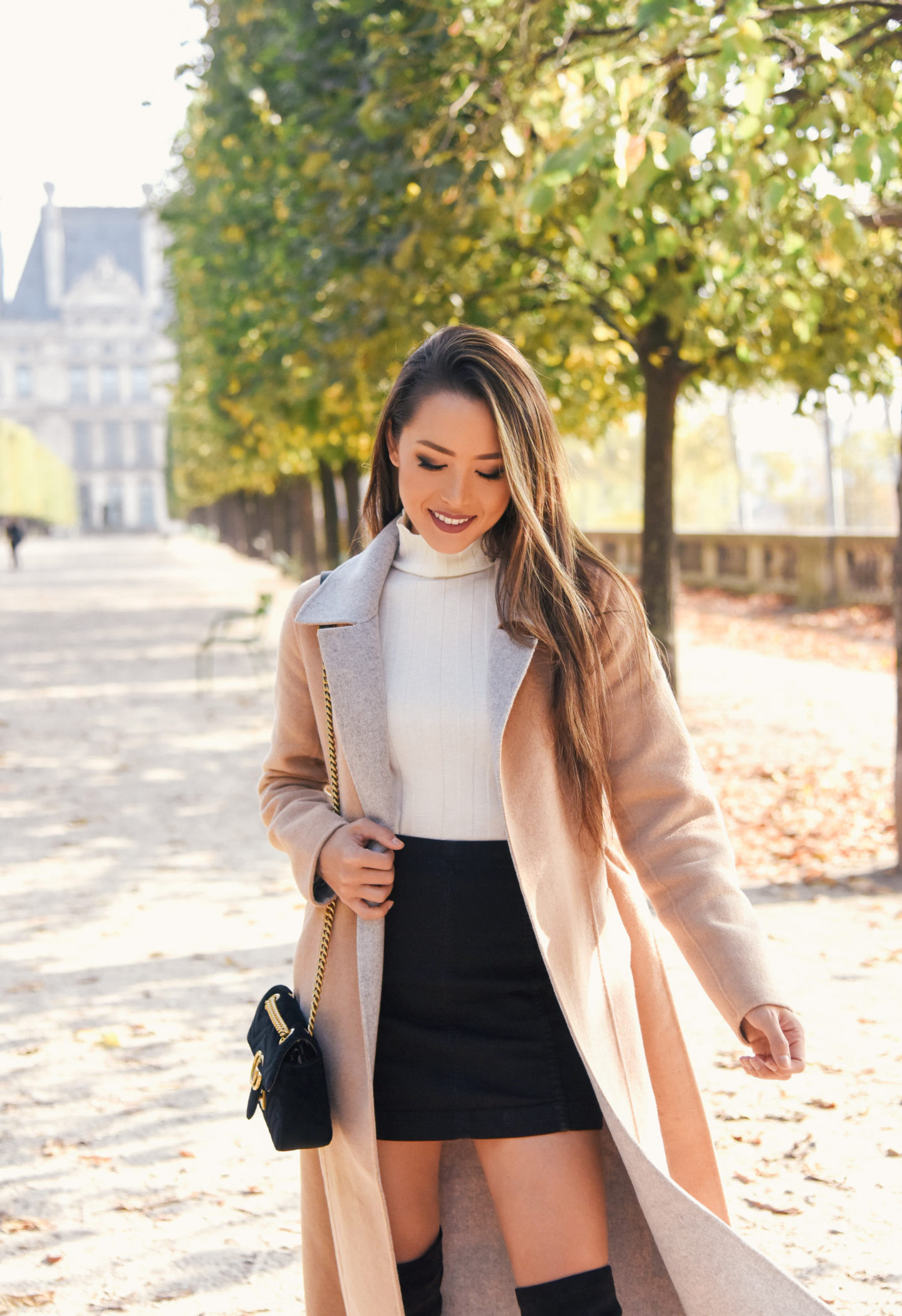 trench, paris, outfit, fashion, banana republic coat, camel coat, turtleneck, miniskirt, over the knee boots