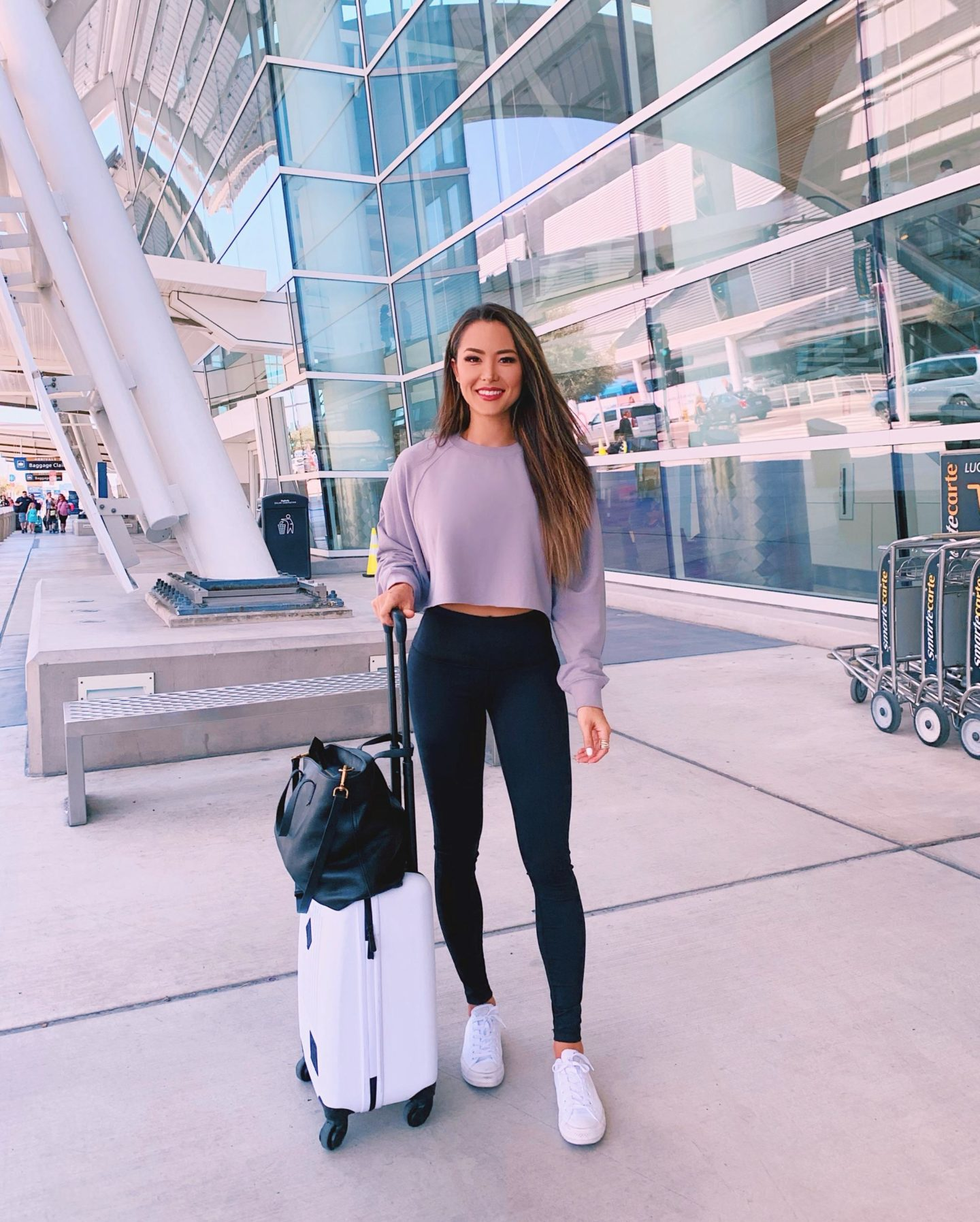 crop sweater casual airport outfit leggings sneakers