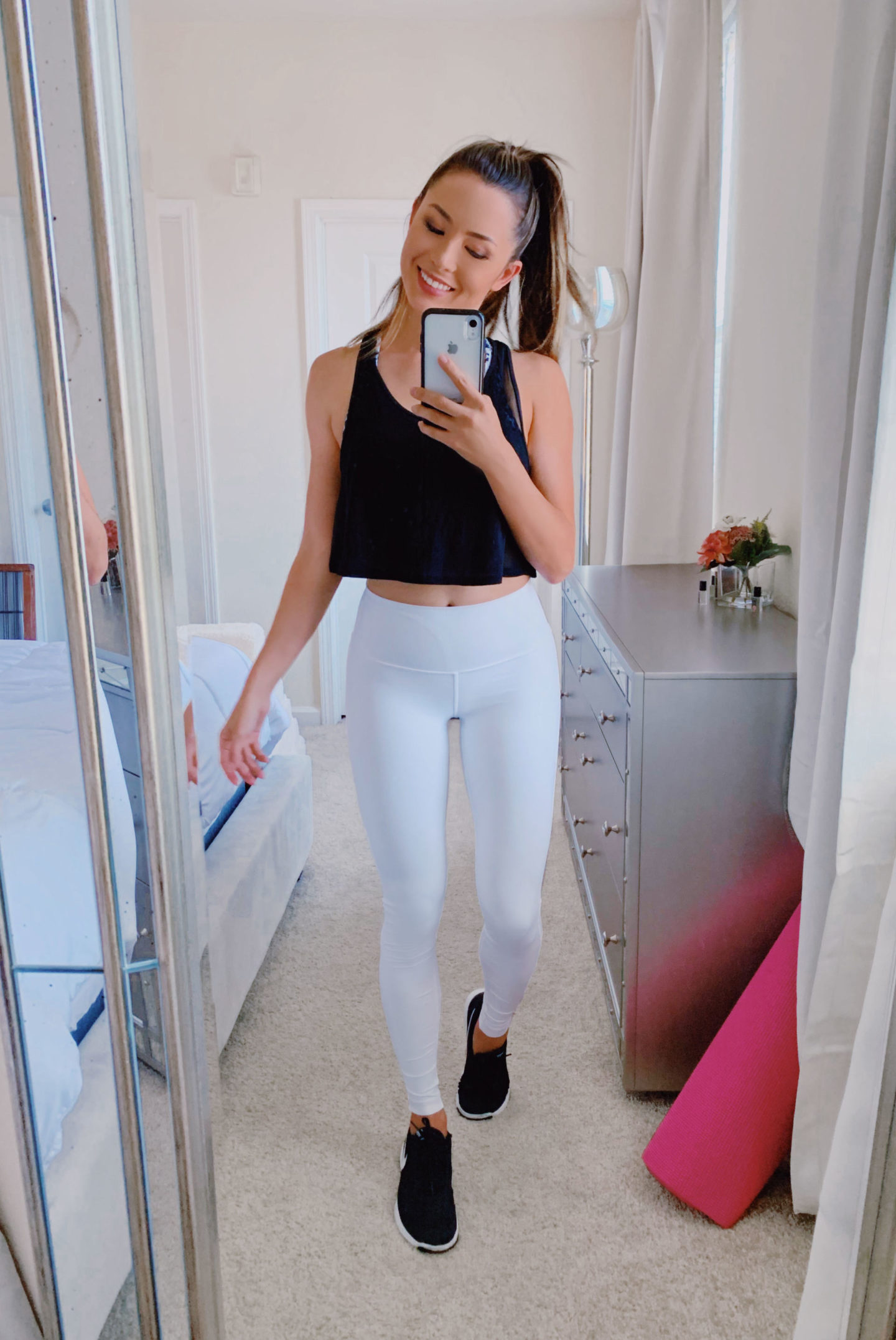 workout outfit white leggings black tank top gym look