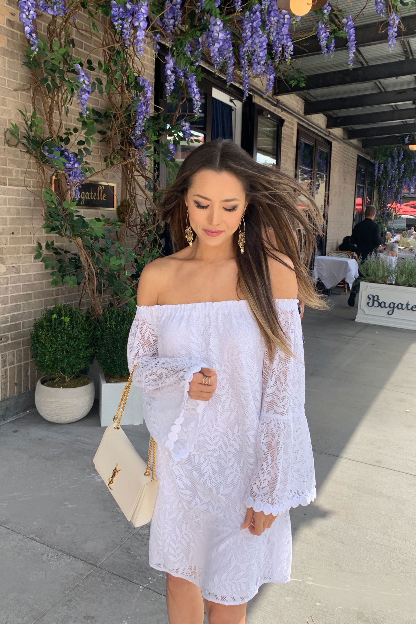 lilly pulitzer white lace off shoulder dress new york nyfw