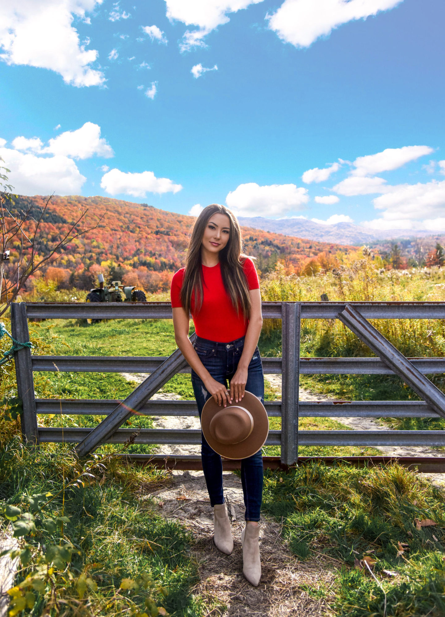 red sweater, express denim, rag and bone, fedora, hat, fall foliage, fall outfit, new england, tan booties, casual fall outfit, vermont, grafton