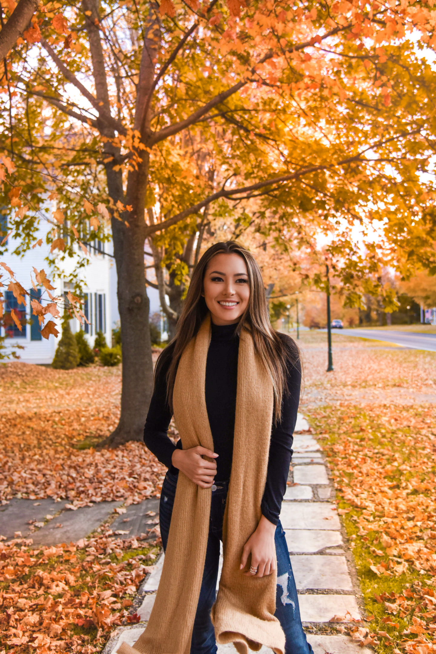 tan scarf, turtleneck, vermont, fall look, booties, express denim, hapa, manchester