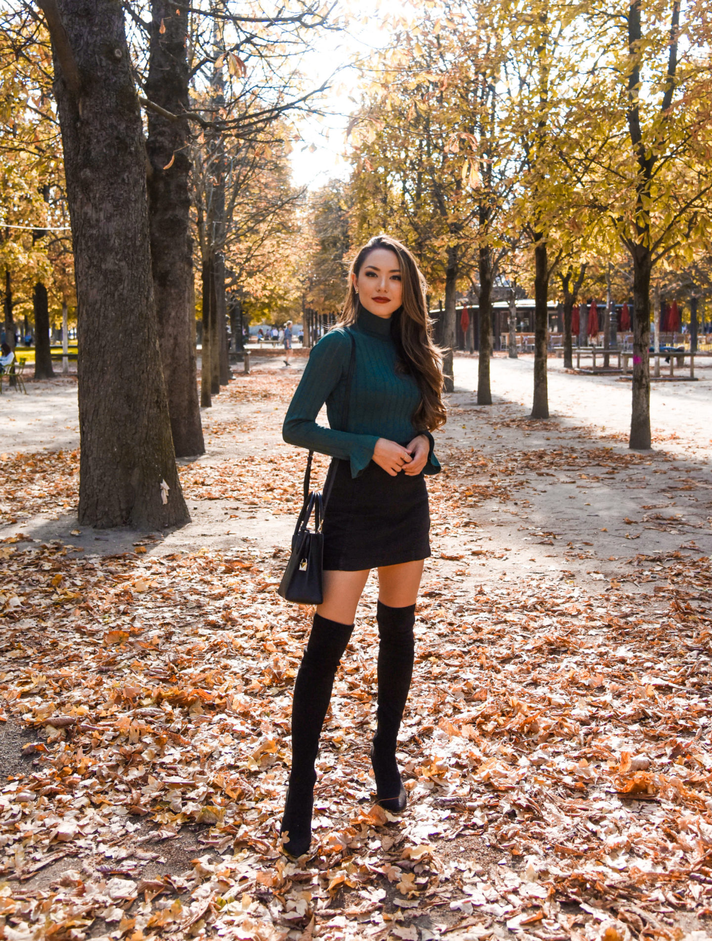 turtleneck fall outfit free people skirt goodnight macaroon over the knee boots paris hapatime