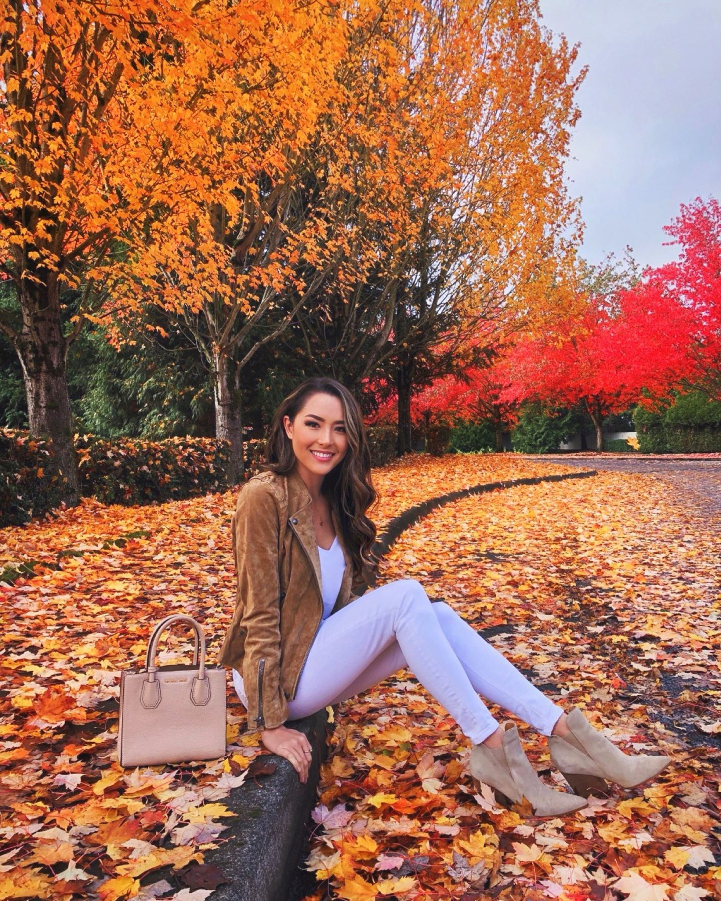 fall outfit suede moto jacket with fall foliage hapatime