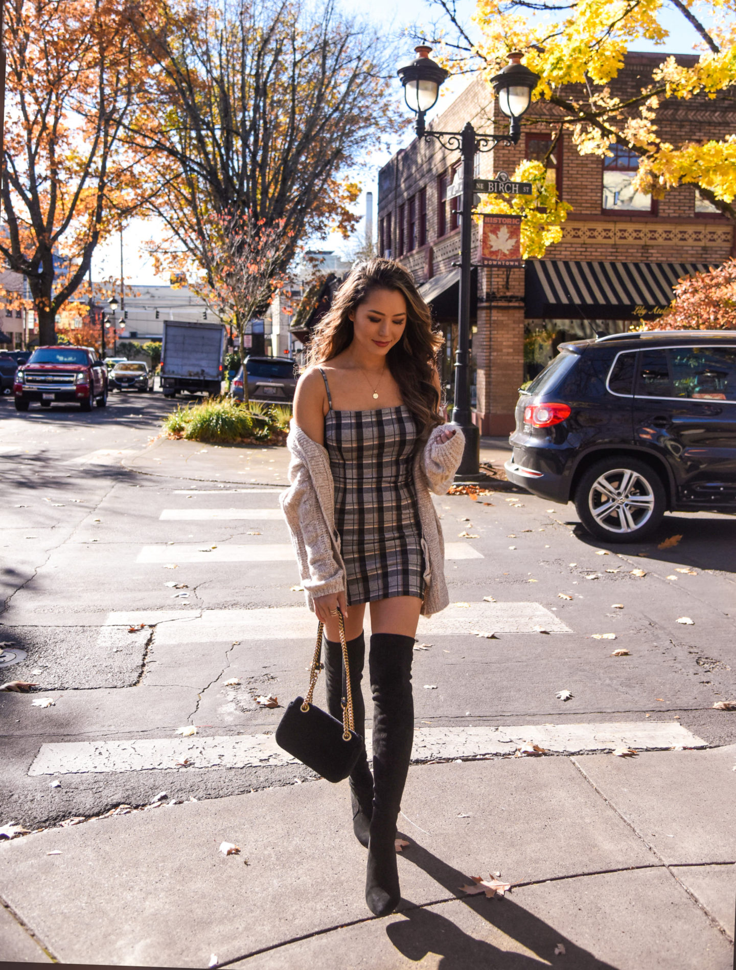 plaid dress, fall outfit, oregon, camas, washington, abercrombie, cardigan, tiger mist, otk boots, gucci bag