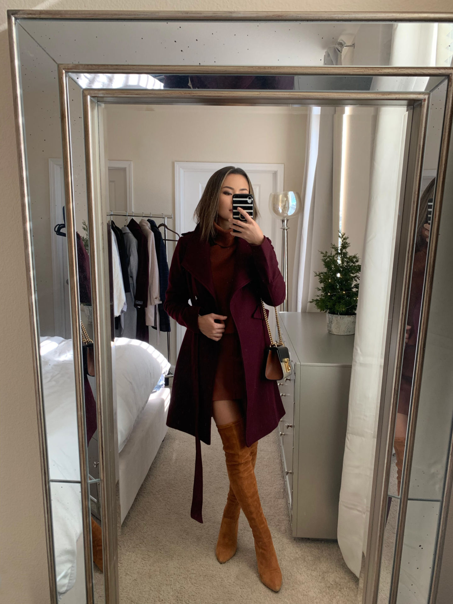 coat, outfit, style, look, burgundy, otk boots, over the knee boots, winter look, winter outfit, knee high boots, calvin klein, kendall and kylie, boots