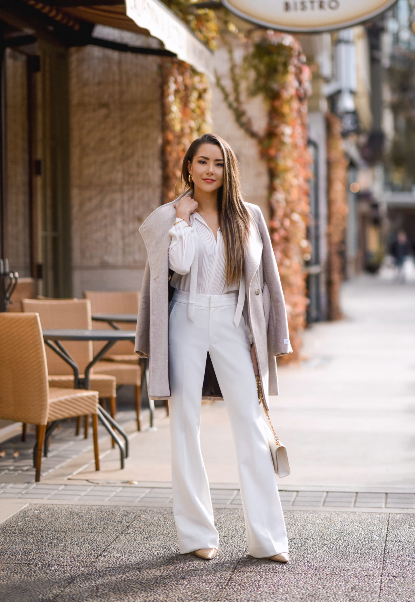 white pants, wide leg trousers, white trousers, banana republic, coat, office, dinner look, jimmy choo, nude heel, ysl
