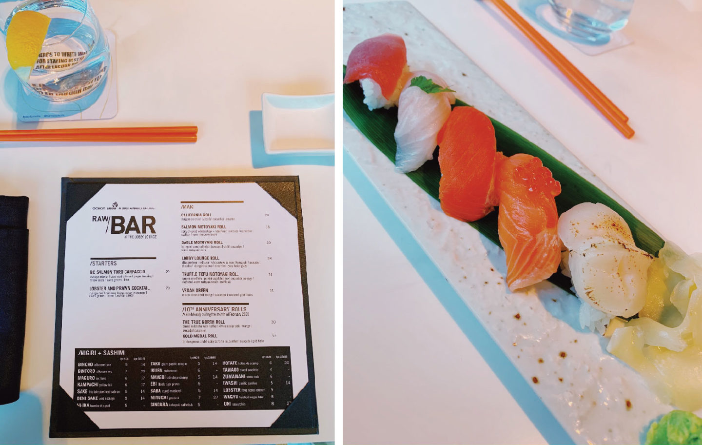 canada, vancouver, travel, winter, fairmont, sushi, lunch, the raw bar