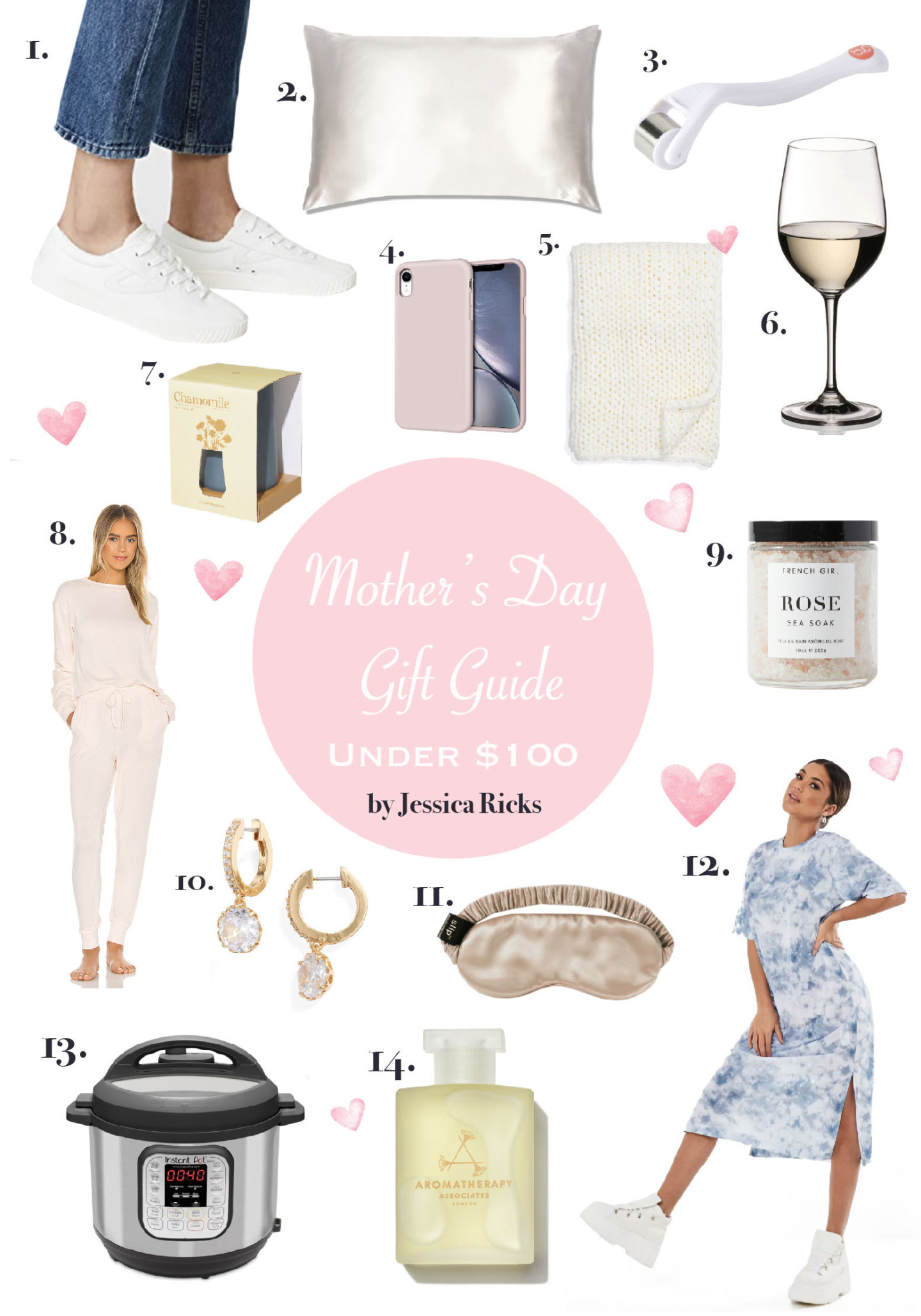 mothers day gift guide, gift ideas for mom, under $100, sleepwear, instapot, phone case, sneakers, dress, aromatherapy, wine glass