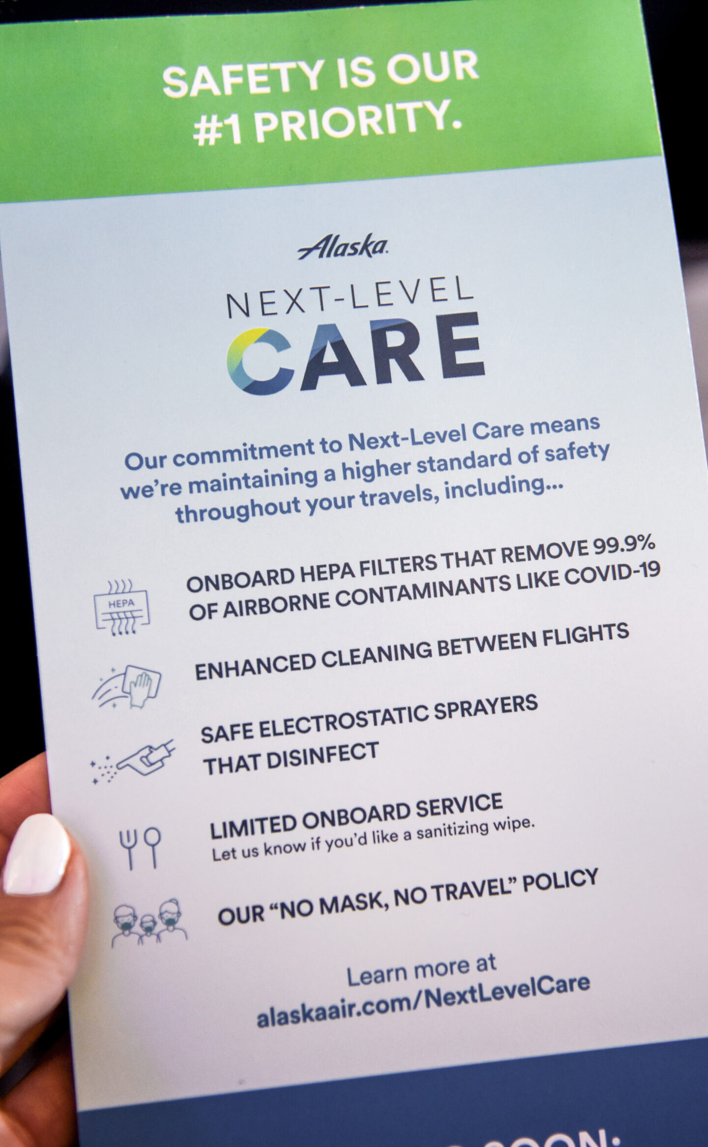 alaska air, covid precautions, next level care, flying during covid, first class