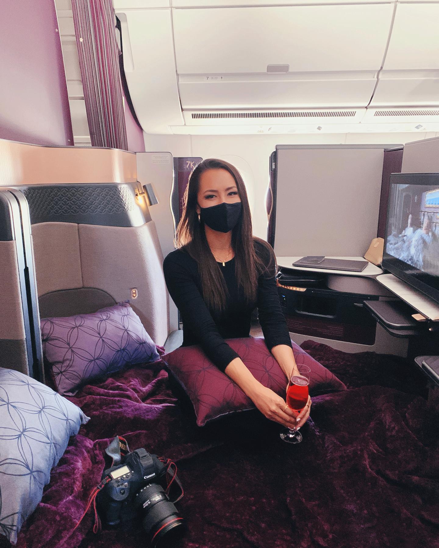 qatar airways, business class, maldives, flying, airplane, blogger