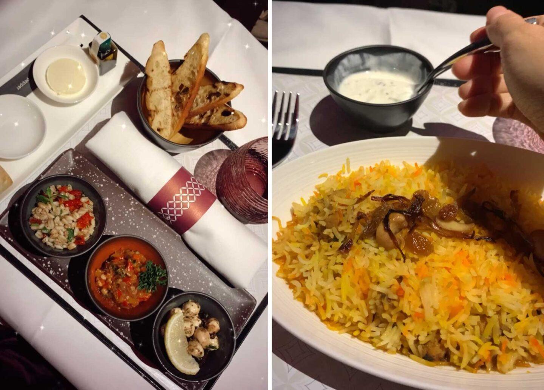 business class, in flight dining, qatar airways, chicken biryani, hummus, mediterannean