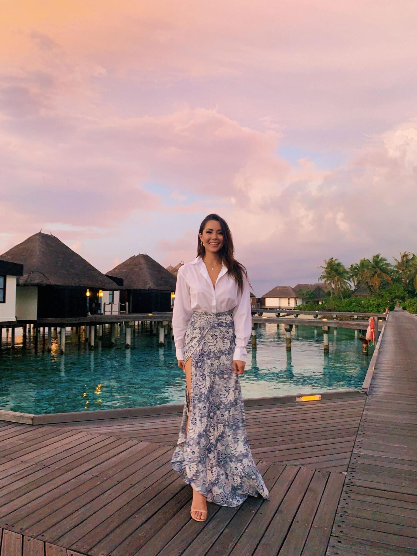 four seasons kuda huraa, sunset, outfit, maxi skirt, maldives, travel, tropical